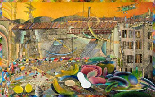 CINEMA IMPERO E PALAMAIO DIM. SENZA CORNICE: 120x75x2,5 cm circa no CORNICE 1988-2006 Olio su legno