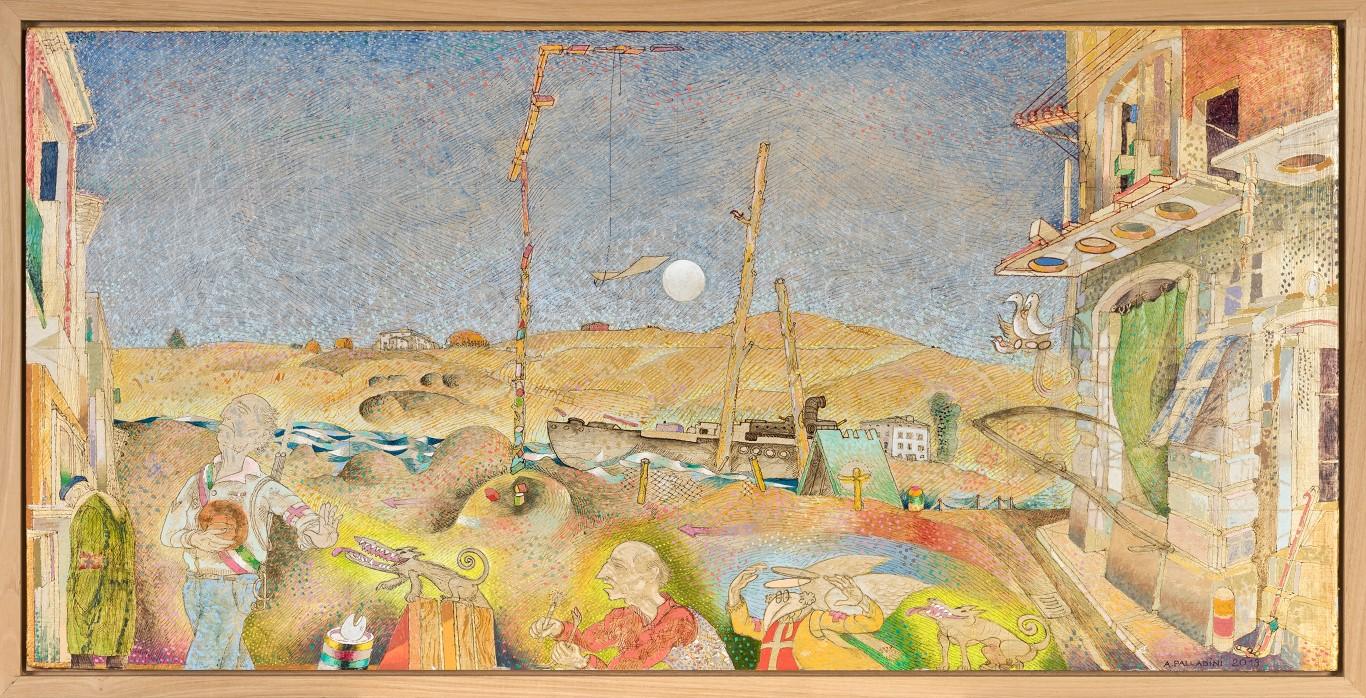 PARATA DIM. SENZA CORNICE: 90x44 cm circa DIM. CON CORNICE: 94x48 cm 2013 Olio su legno