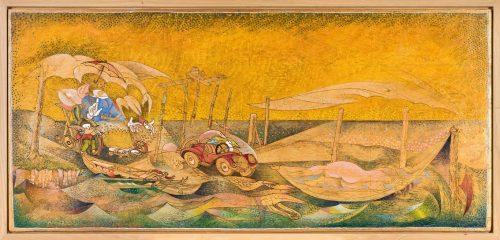 PIC-NIC AL MARE DIM. SENZA CORNICE: 105,5x49 cm circa DIM. CON CORNICE: 110x53 cm 2012-13 Olio su legno